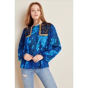 NWT Anthropologie Miranda Peasant Blouse in Blue